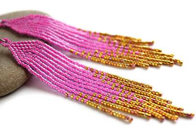 купить красивые длинные серьги из бисера розовые украшения из бисера интернет магазин