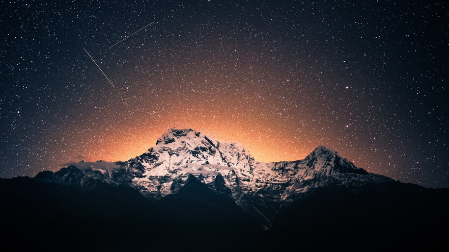 Night, Starry, Sky, Mountains, 4K, #6.994