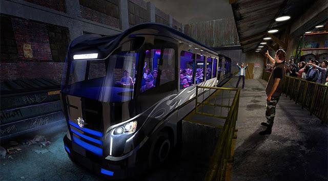 Ônibus simulador da nova atração de Velozes e Furiosos da Universal Orlando: Fast & Furious – Supercharged