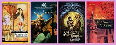 portadas del libro juvenil de fantasía La maldición del maestro, de Laura Gallego