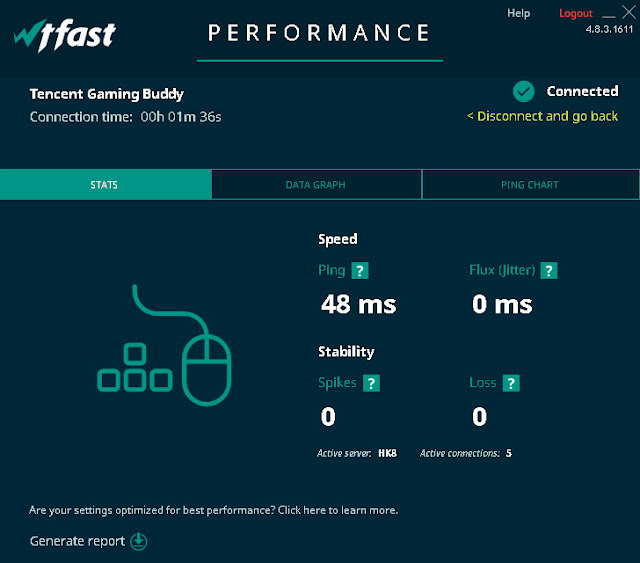 WTFast will show you your connection status with information about your connection Speed and Stability.