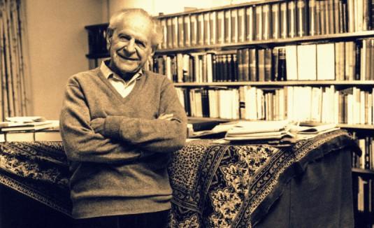 Karl Popper in his studio