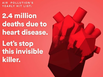 Air Pollution causes over 2 million deaths due to heart disease every year.