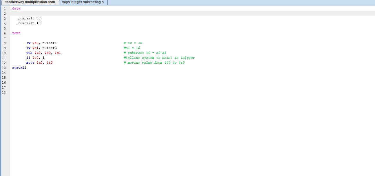 MIPS basic code