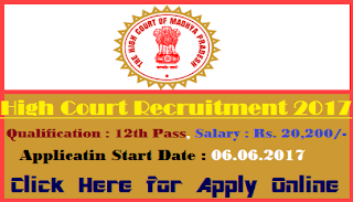 MP High Court Various Post online Form 2018
