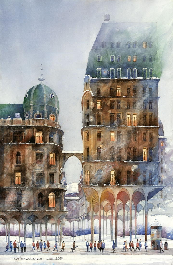 10-Meadow-cities-winter-Tytus-Brzozowski-Architecture-Meets-Watercolors-Paintings-in-Warsaw-www-designstack-co