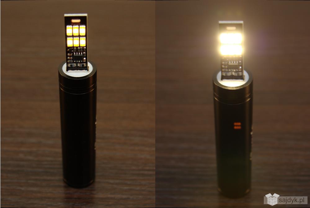 Lampka nr 7 na minimalnej i maksymalnej jasności