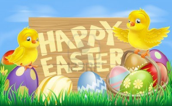 18180152 drawing of an easter sign reading happy easter surrounded by easter eggs and yellow cartoon easter c Happy Easter To All Naijaloadites!!