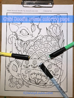 Chibi Doodle Kitty Easter Egg coloring page