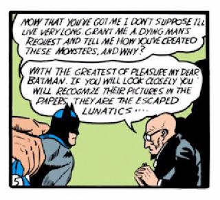 Batman (1940) #1 Page 20 Panel 5: Batman gets Hugo to monologue about his nefarious plans.