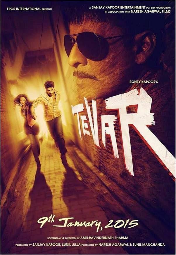 official poster of Manoj Bajpayee, Arjun Kapor and Sonakshi Sinha starer Bollywood movie Tevar