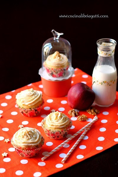 cupcake mele noci cardamomo frosting caramello mou muffin ricetta