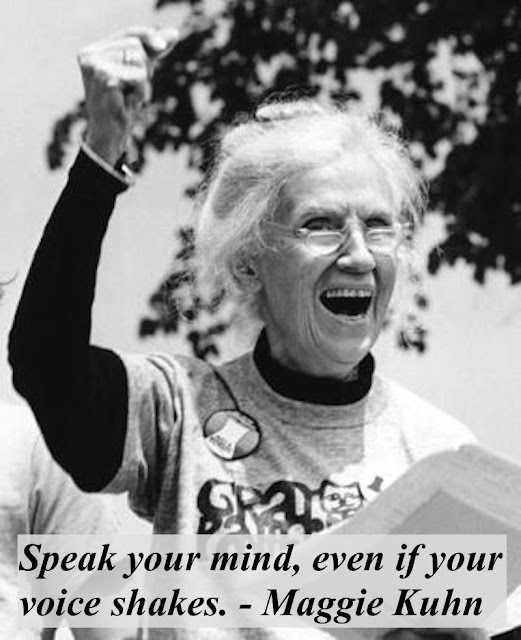"""Gray Panthers founder, Maggie Kuhn, raises a hand in victory. """"Speak your mind, even if your voice shakes."""""""