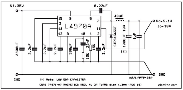 5v 10a switching regulator by l4970a electronic projects circuits