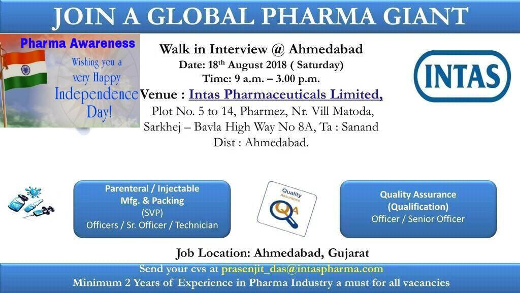 intas pharma walkin interview  ahmedabad for production   packing  u0026 qc