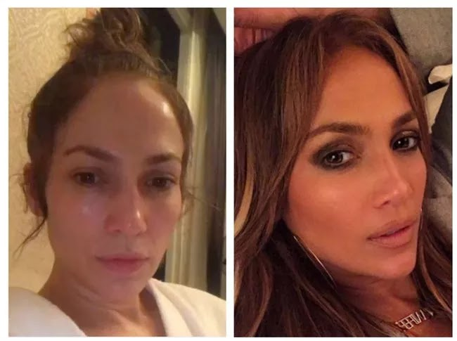 24 Pictures Of Famous Women With And Without Makeup - Jennifer Lopez