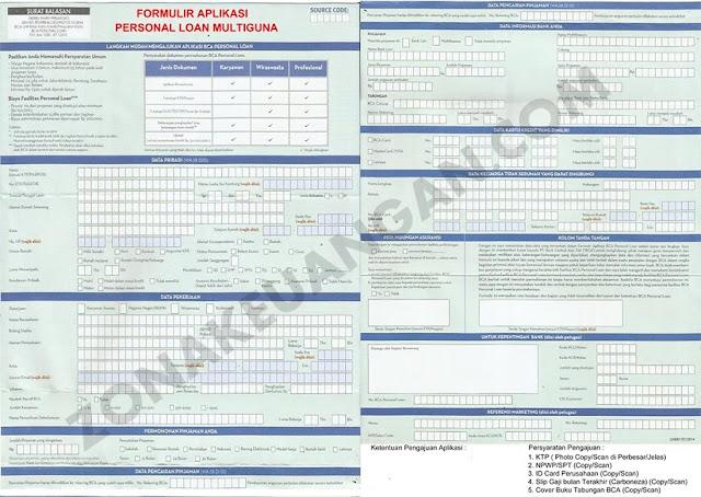 Formulir BCA Personal Loan