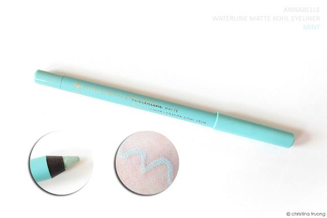 Annabelle Cosmetics Waterline Kohl Eyeliner Review featuring Waterline Matte Kohl Eyeliner in Mint