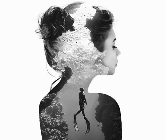 03-Scuba-Diving-Alexis-Nevess-nevessart-Photographic-Double-Exposures-of-people-and-Animals-www-designstack-co