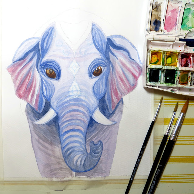 watercolor elephant work in progress