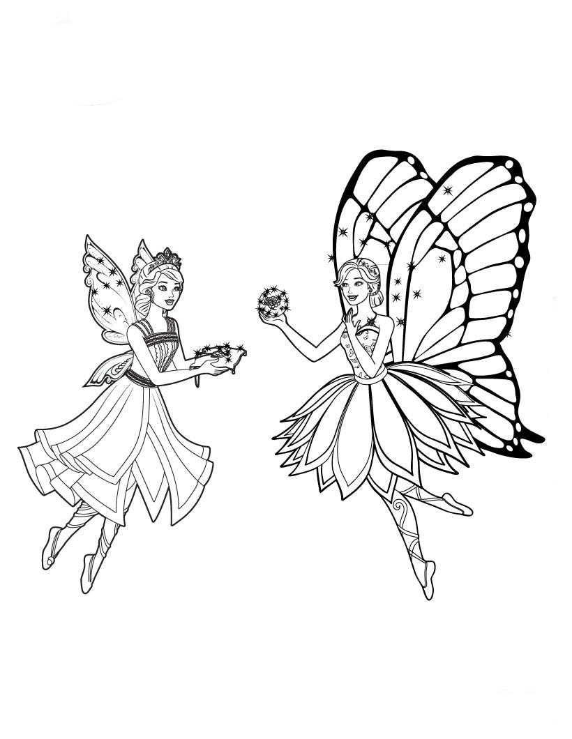 Desenhos De Barbie Butterfly Para Pintar Colorir