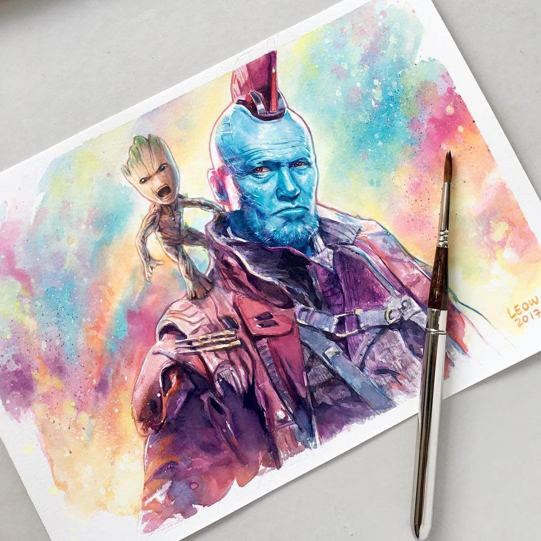 07-Yondu-and-Groot-Leow-Fantastic-Mix-of-Watercolor-Paintings-www-designstack-co