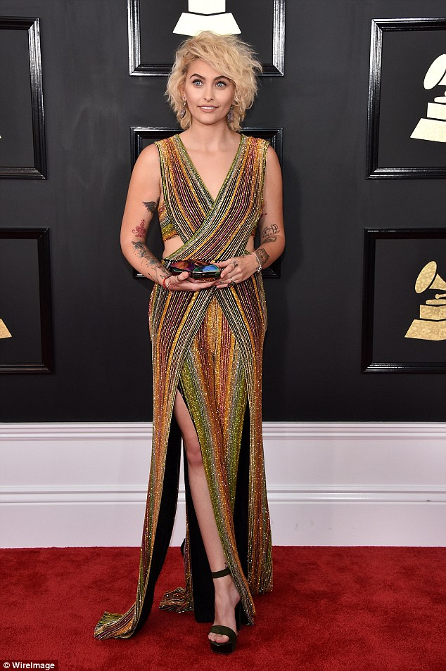 Paris Jackson wears Balmain jumpsuit to the 2017 Grammy Awards