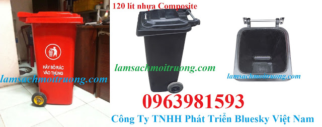 Thùng rác 120 lít, thùng rác nhựa Composite, thùng rác công nghiệp giá rẻ