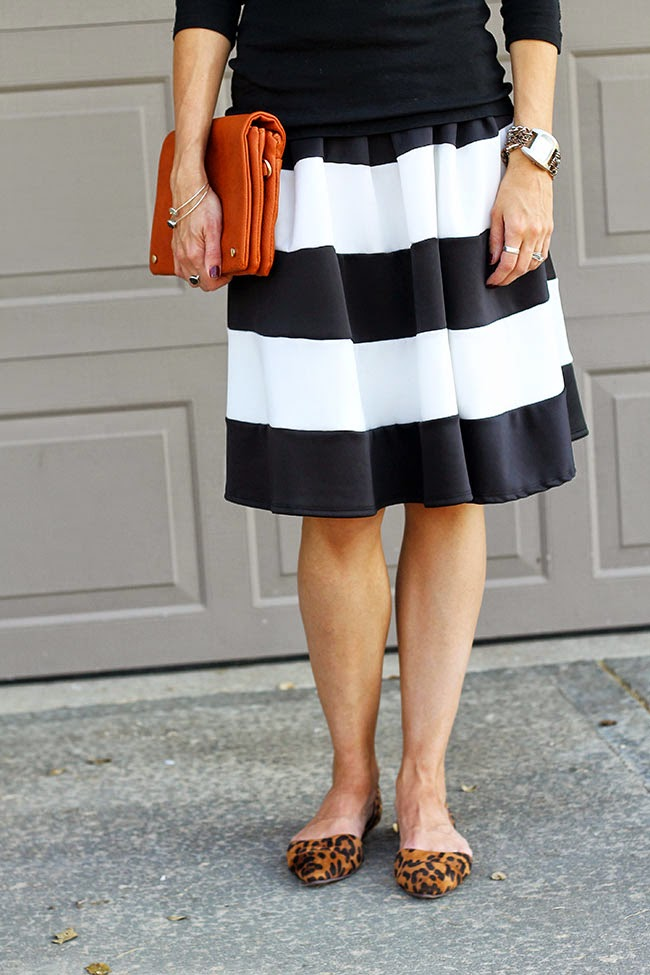 Black and white striped skirt and leopard flats
