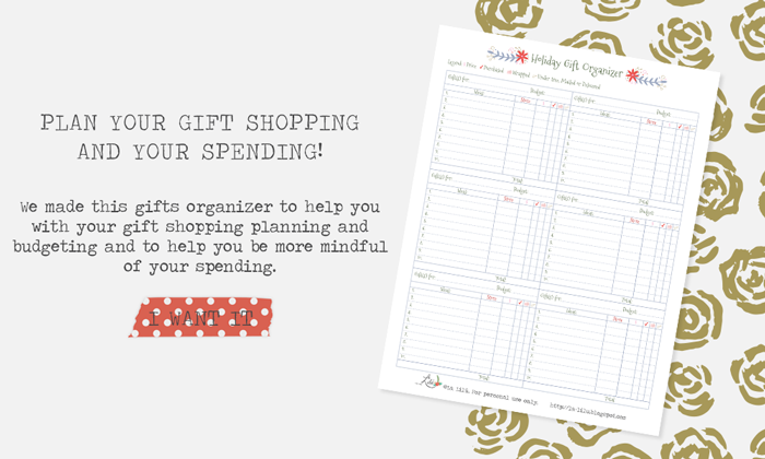 planning and organizing Christmas shopping, budgeting, spending, free download, freebie