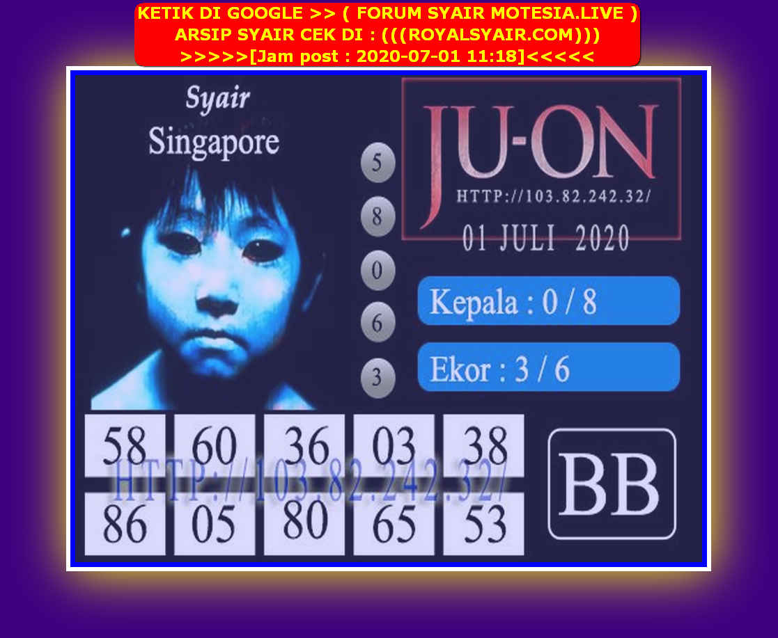Kode syair Singapore Rabu 1 Juli 2020 95