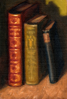 Oil painting of three antique books standing on end.