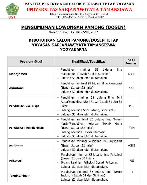 lowongan dosen, dosen tetap, lowongan dosen jogja, sarjanawiyata tamansiswa, UST, yogyakarta, agustus 2017