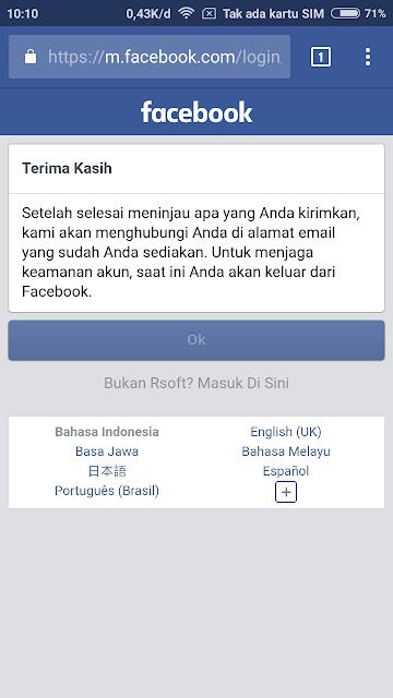 Tunggu pemberitahuan Facebook dalam waktu 24 jam.