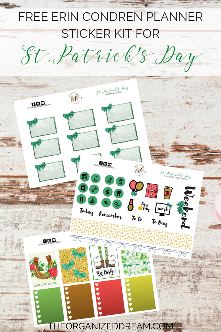 free erin condren planner sticker kit for st. patrick's day - the