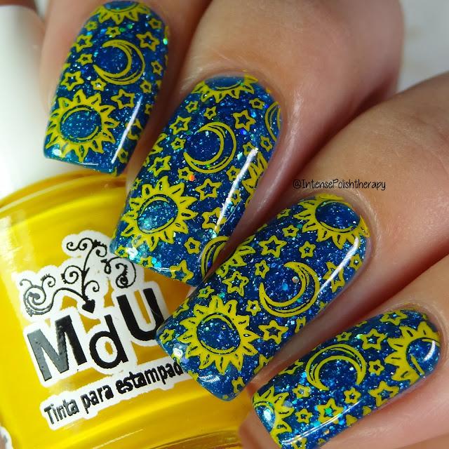 Yellow Sun, Moon & Stars Manicure