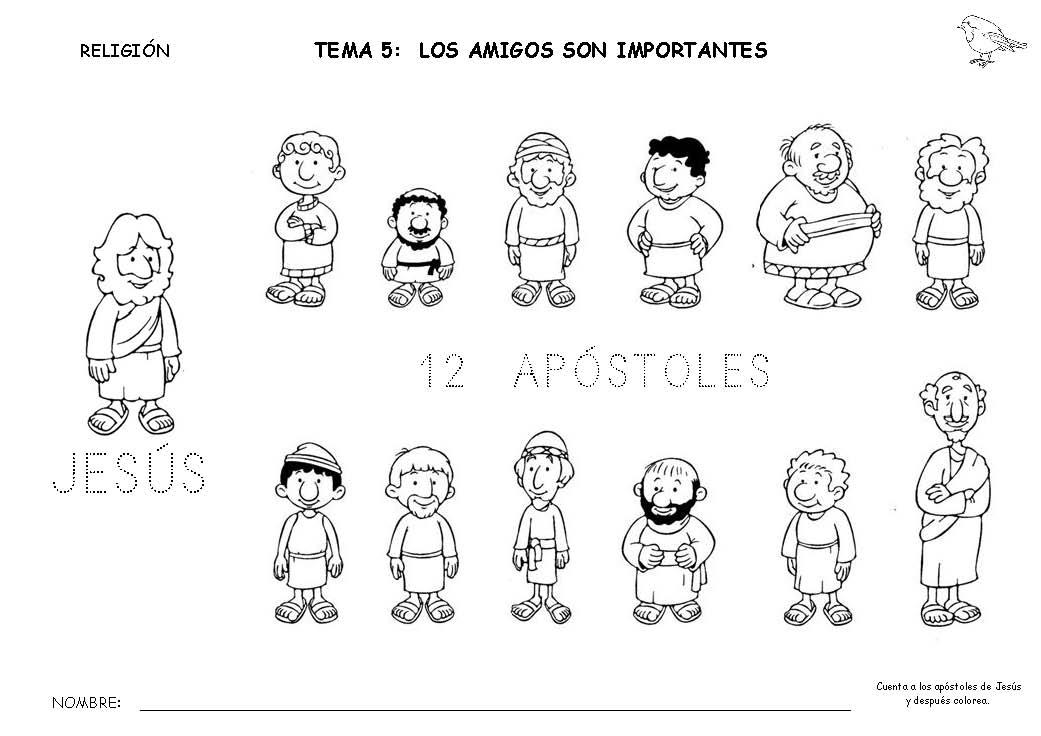 Único La Página De Jesús Y Los 12 Discípulos Para Colorear Cresta ...