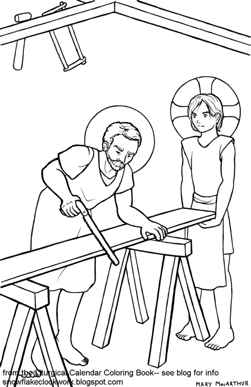 Snowflake clockwork joseph the worker coloring page for St joseph coloring page