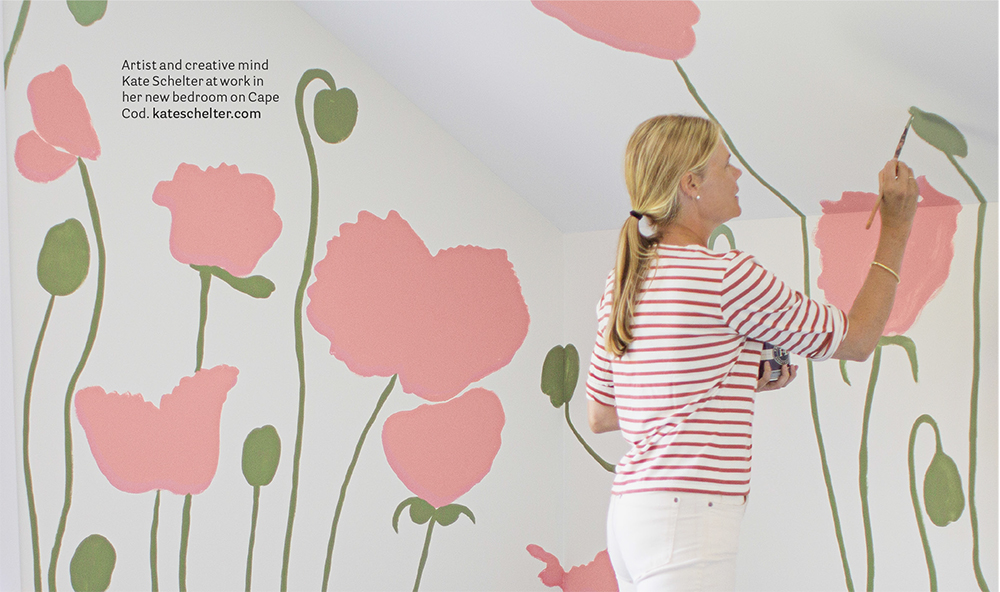 Artist and stylemaker Kate Schelter painting her bedroom