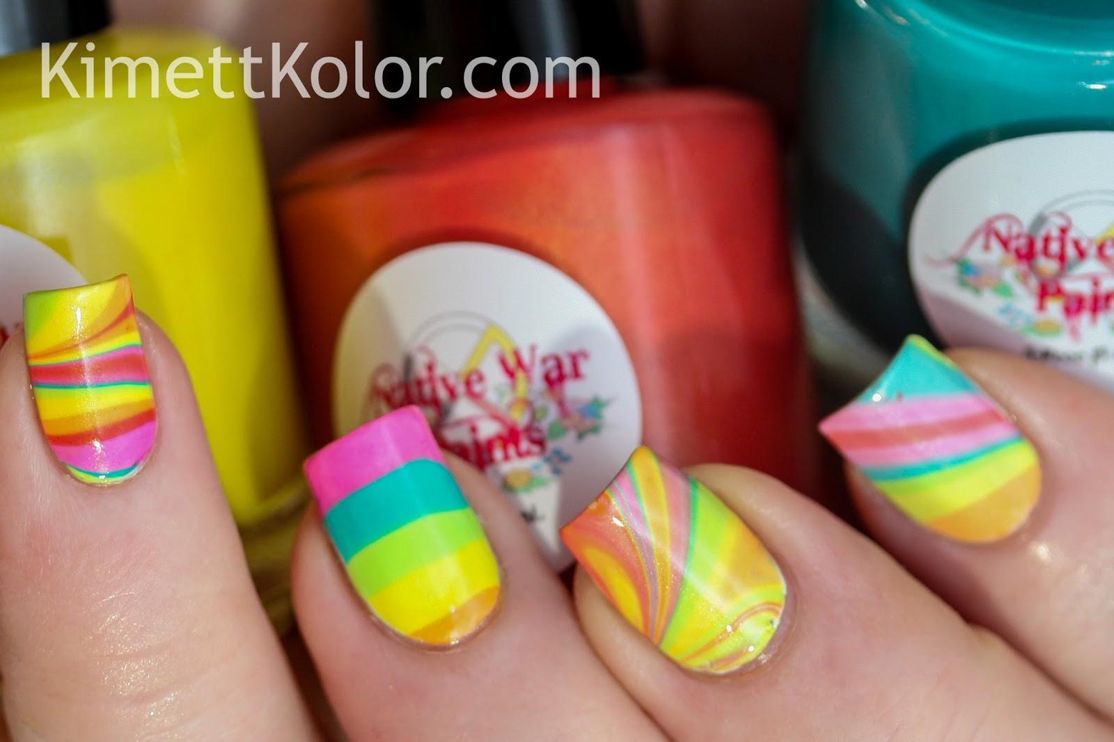 Kimett Kolor Neon Water Marble Nail Art