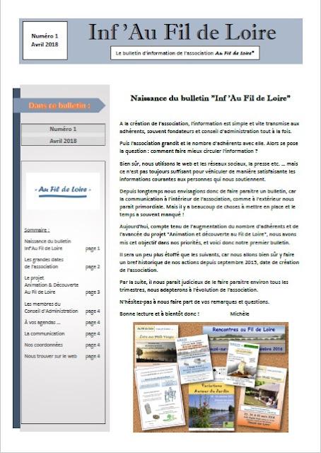 Lettre d'informations de l'association Au Fil de Loire