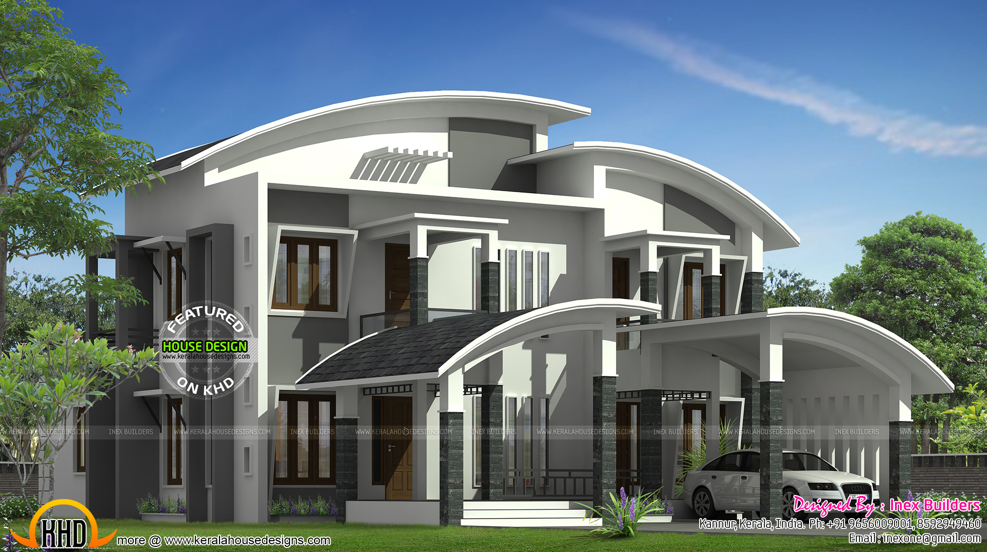 Kerala home design and floor plans: Curved roof house plan
