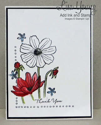 Stampin' Up! Helping Me Grow stamp set. Floral card in Red White and Blue. Clean and simple handmade card by Lisa Young, Add Ink and Stamp