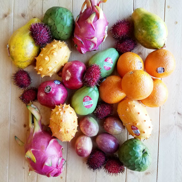 variety of tropical fruits from Melissa's produce