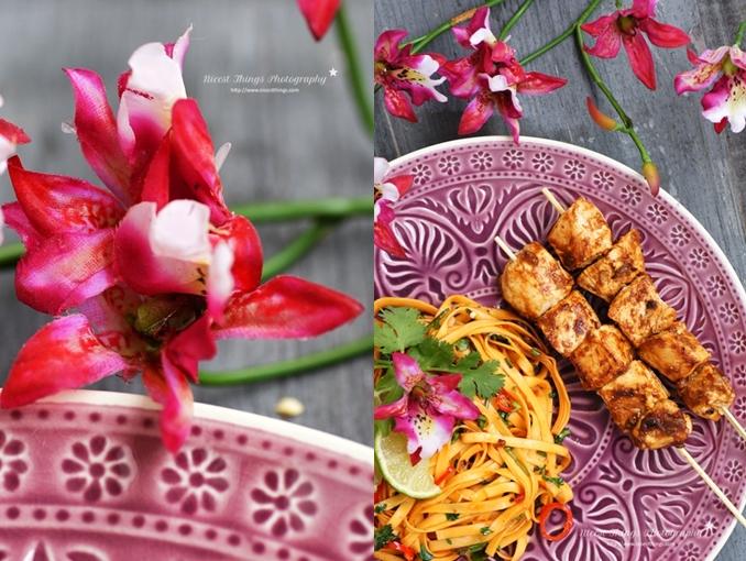 Chili Nudel Rezept nach Thai Art mit Satay Spiessen