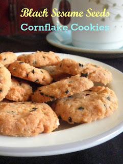 Black Sesame Seeds Cornflakes Cookies @ treatntrick.blogspot.com