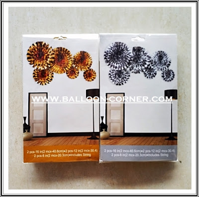 Paper Fan Set 6 Pcs Warna Gold & Silver