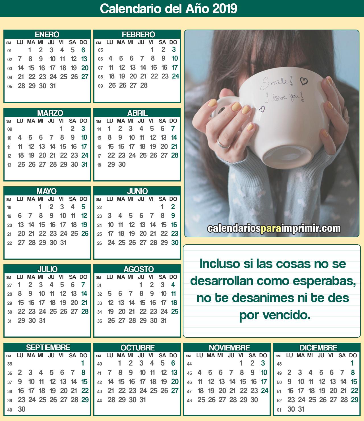 calendarios 2019 de reflexion para imprimir