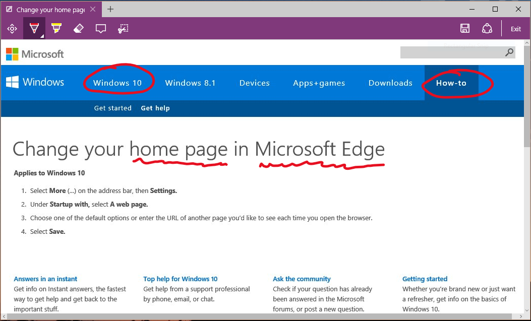 windows 10 home page change