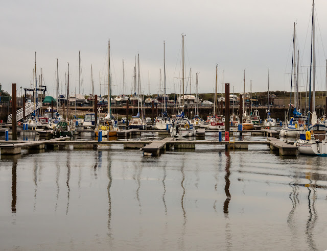 Photo of a grey but calm start to the day at Maryport Marina on Saturday